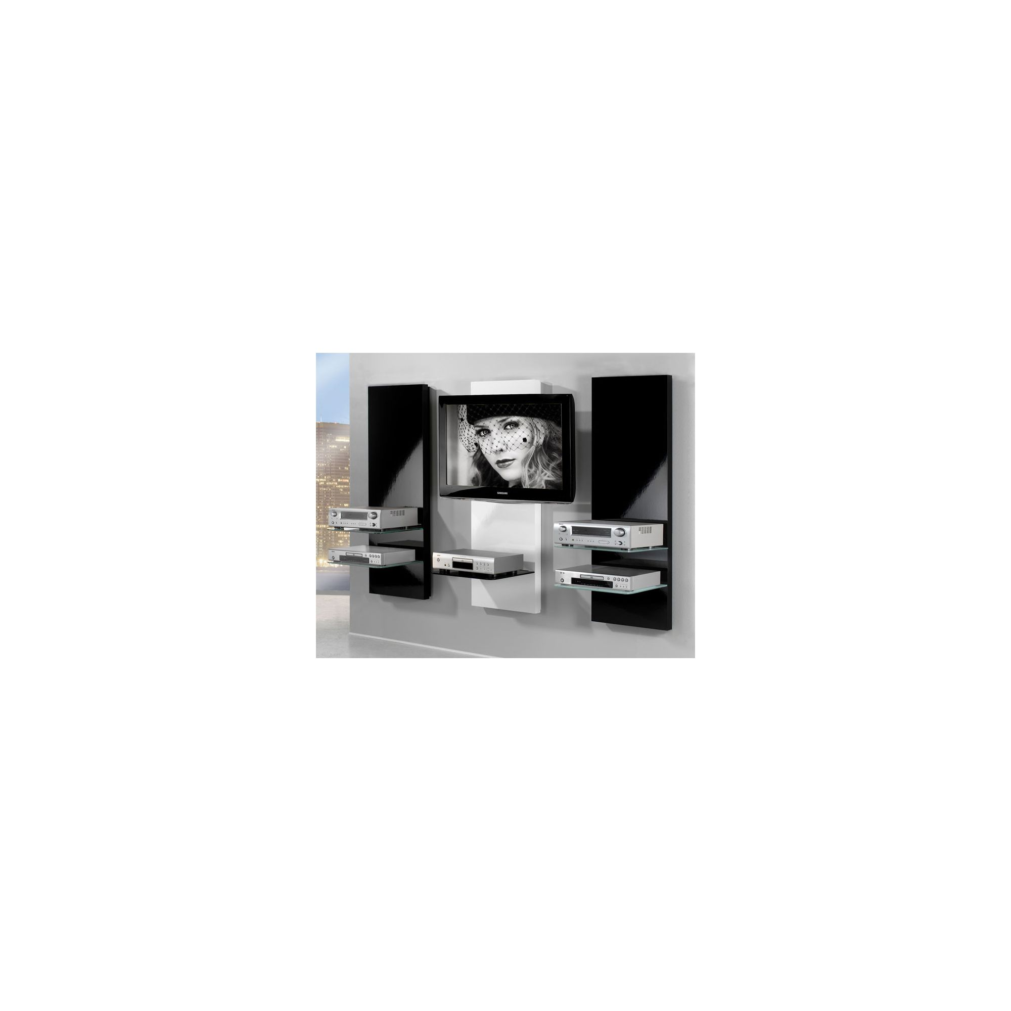 Triskom Wooden TV Stand for LCD / Plasmas with Bracket - White Centre with Black Sides at Tesco Direct