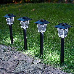 Set of 4 Dappled White LED Solar Garden Stake Lights