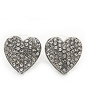 Classic Clear Diamante 'Heart' Stud Earrings In Rhodium Plating - 15mm Length