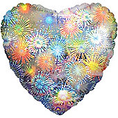 "Holographic Fireworks Heart Balloon - 18"" Foil (each)"