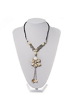 Antique White Shell Composite Floral Tassel Leather Cord Necklace
