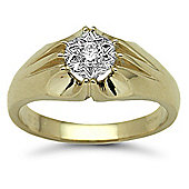 Jewelco London 9 Carat Yellow Gold 20pts Gents Single Stone Diamond Ring