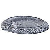 Aged Grey Cast Iron 24cm Garden Bird Bath Feeder Bowl with Dragonfly