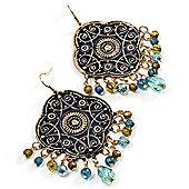Gold Tone Hammered Bead Drop Earrings - 8cm Length