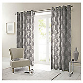 Woodland Lined Eyelet Curtains - Charcoal
