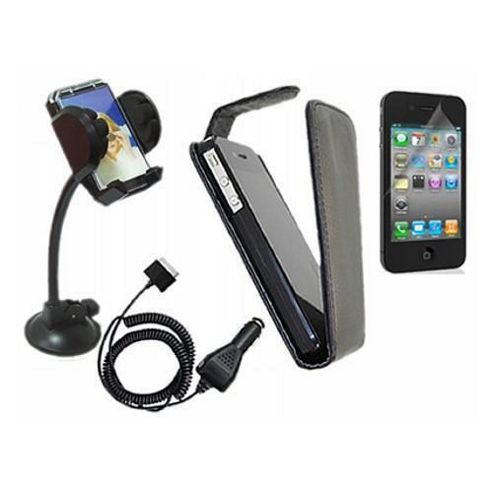 iTALKonline LCD Screen Protector, Car Charger, In Car Holder and Flip Case Black - For Apple iPhone 4