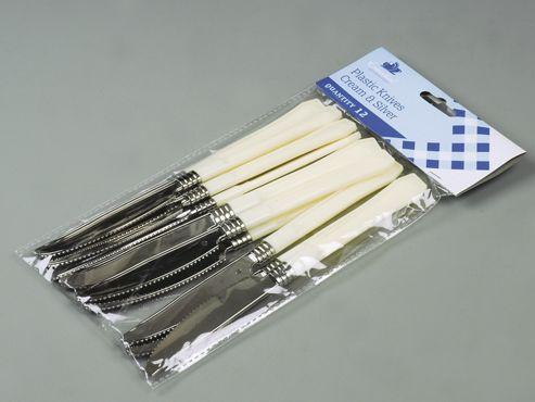 Essential Plk12Ch Plastic Knives Crm+Silver X12