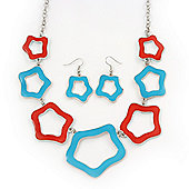 Light Blue/ Coral Enamel 'Star' Necklace & Drop Earrings Set In Silver Plating - 38cm Length/ 6cm Extension
