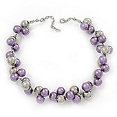 Purple/Mirrored Metallic Bead Cluster Choker Necklace - 38cm Length/ 5cm Extension