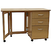 Flipp - 3 Drawer Folding Office Storage Filing Desk / Workstation - Oak