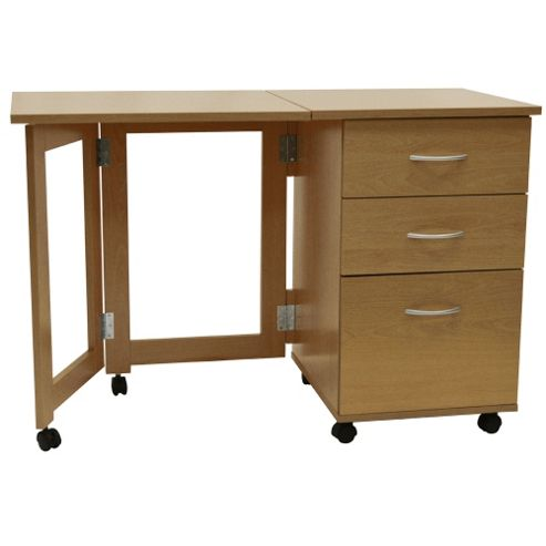 Buy flipp 3 drawer folding office storage filing desk workstation oak from our office - Tesco office desk ...