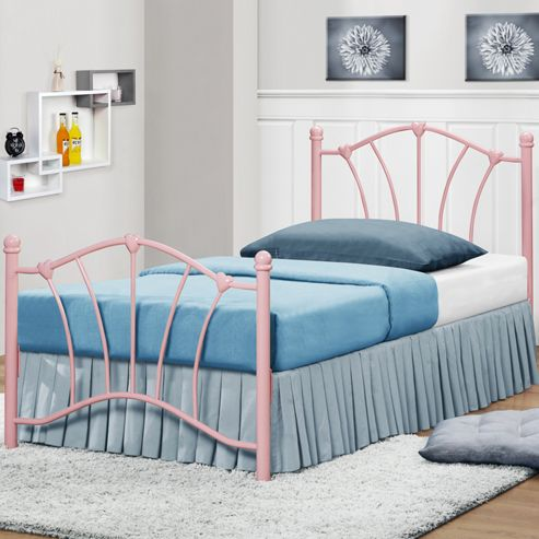 Sophia Metal Single Bed - Pink