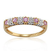 Gemondo 9ct Yellow Gold 0.26ct Pink Sapphire & 2pt Diamond Half Eternity Band Ring