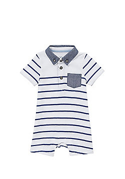 F&F Striped Polo Romper - White multi