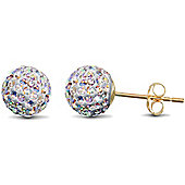 Jewelco 9ct Gold 8mm Crystal Disco Ball Studs - Crystal AB Colour