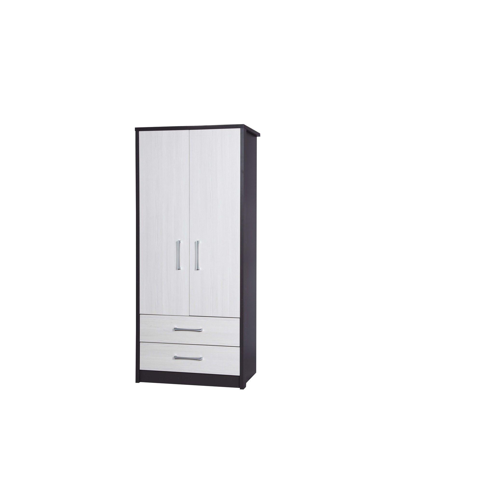 Alto Furniture Avola 2 Drawer Combi Wardrobe - Grey Carcass With White Avola at Tesco Direct