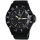 Tresor Paris Watch 018789 - Stainless Steel Bezel - Silicone Strap - Diamond Set Dial - 44mm - Black
