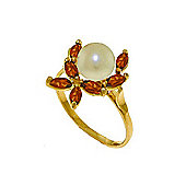 QP Jewellers Garnet & Pearl Ivy Ring in 14K Gold