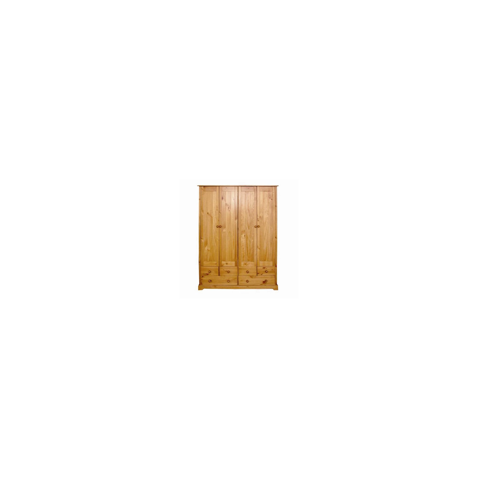 Home Zone Atlantic Four Door Wardrobe in Vintage Pine at Tesco Direct