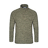 Mens Casual Half Zip Antipill Microfleece Walking HIking Snowdon Fleece Top - Green