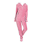 Hooded Footed Pyjamas for Adults - Plush  (arge) - Pink