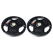 Body Power Rubber Enc Tri Grip OLYMPIC Weight Disc Plates - 25Kg (x2)