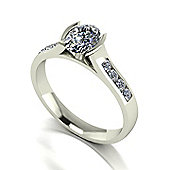 18ct White Gold 7x5 Oval Moissanite Solitaire and Moissanite Set Shoulders