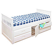 Amani Captain Single Bed - White