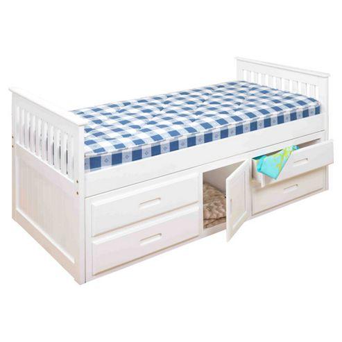 Amani Captain Single Bed - White
