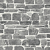 Stone Wall Wallpaper - Grey - 265620