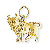 Jewelco London 9ct Light Yellow Gold - Taurus Charm Pendant -