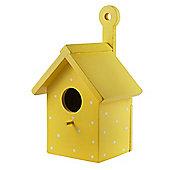Bright Yellow Wooden Wall Mountable Decorative Garden Bird Box House