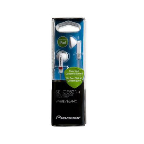 Pioneer SE-CL521-H Fully Enclosed Dynamic Inner-Ear Headphones - White