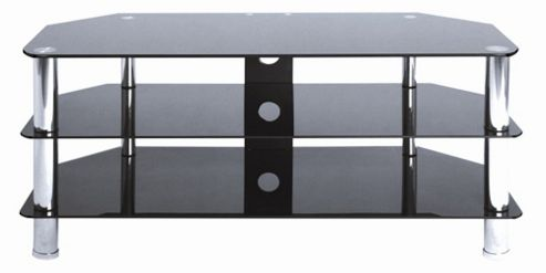 LEVV Glass TV Stand - Chrome / Black