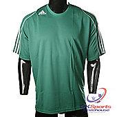 Adidas Squad 11 Climalite Short Sleeve Football Shirt Green / White Stripes - Green & White