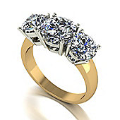18ct Gold 3 Stone Moissanite Trilogy Ring