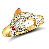 Jewelco London 9ct Solid Gold CZ set Dolphin Ring