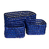 Eightmood 3 Pieces Picnic Basket Set - Cobalt Blue
