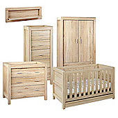 Tutti Bambini Milan 6 Piece Room Set (Cot, Chest, Wardrobe, Tallboy, Shelf, Mattress) - Reclaimed Oak Finish