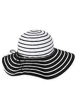 F&F Striped Floppy Hat - Black