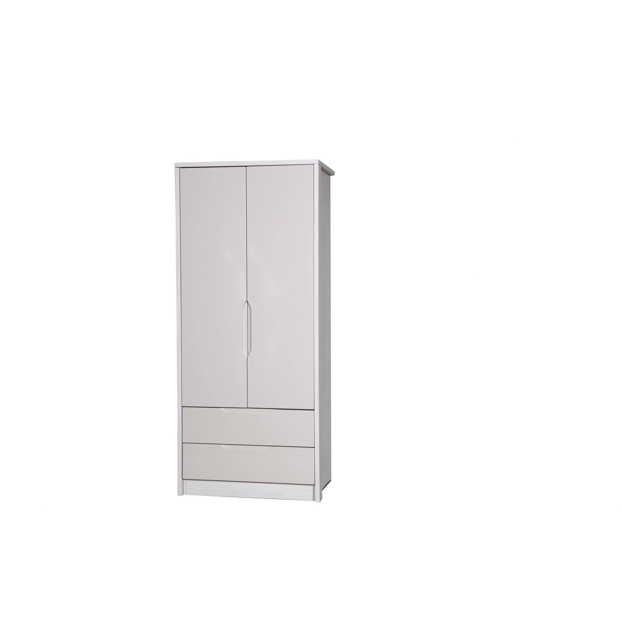 Alto Furniture Avola 2 Drawer Combi Wardrobe - White Avola Carcass With Sand Gloss at Tesco Direct