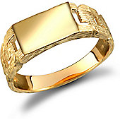 9ct Solid Gold rectangular Signet Ring with barked curb link shoulders