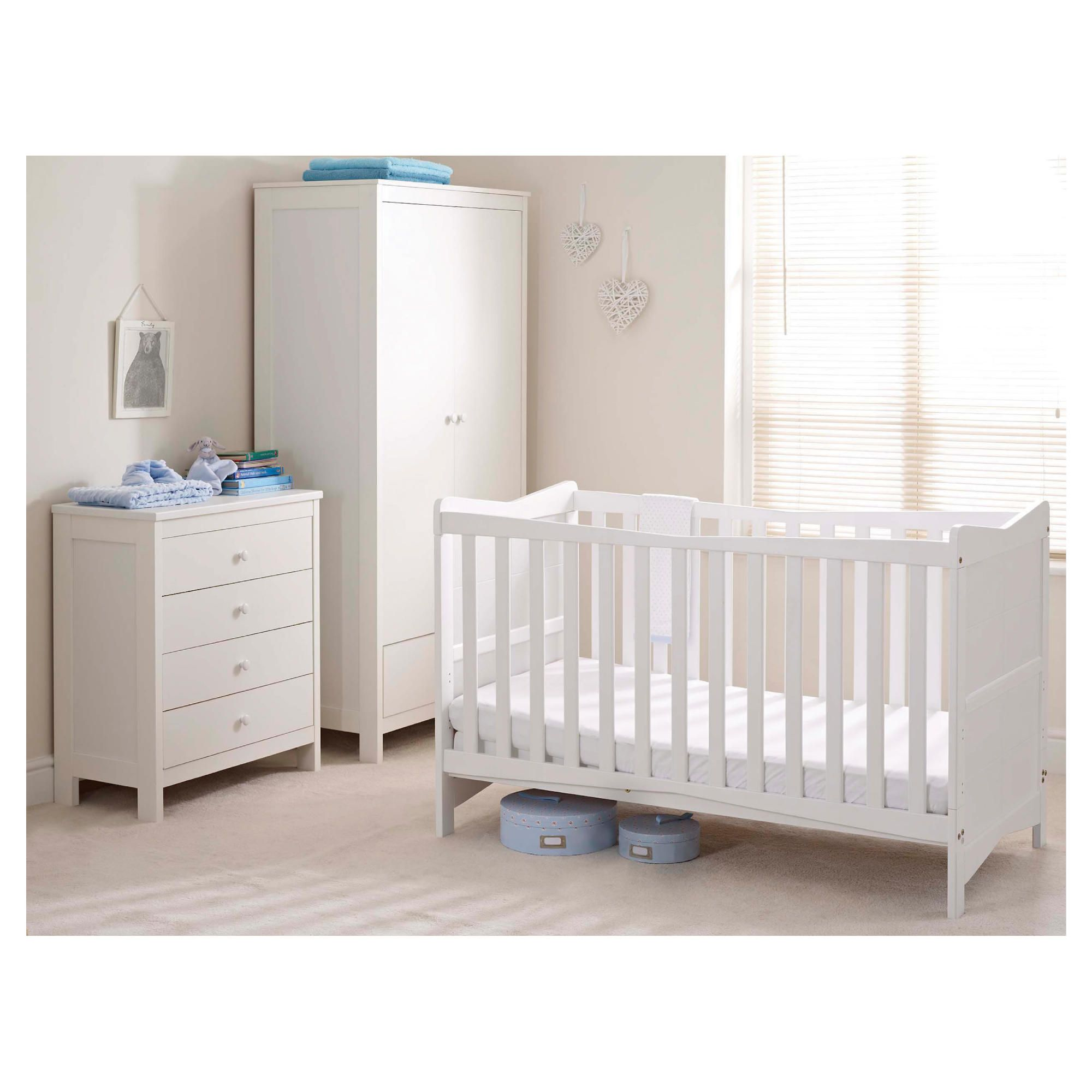 Saplings Kitty 3 piece Nursery Room Set, White at Tesco Direct