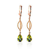 QP Jewellers 3.0ct Peridot Sceptre Earrings in 14K Rose Gold