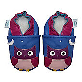 Dotty Fish Soft Leather Baby Shoe - Cornflower Blue and Pink Owl - Blue