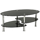 Cara Black Glass Coffee Table with Chrome Legs