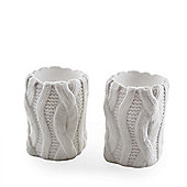Small Knitted Look Ceramic Tealight Holder Set