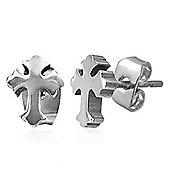 Urban Male Men's Cross Design Stainless Steel Stud Earrings 7mm