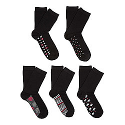 F&F 5 Pair Pack of Patterned Sole Socks One Size Black