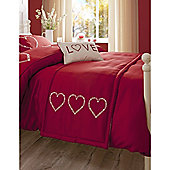 Catherine Lansfield Home Fine Luxury Collection Decorative Hearts Runner Red
